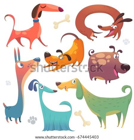 Cartoon dogs set. Vector illustrations of dogs icons. Retriever, dachshund, terrier, pitbull, spaniel, bulldog, basset hound, afghan hound, borzoi. Design for logo, emblem, poster, mascot