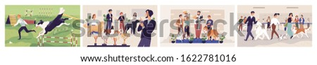 Cartoon dogs show colored vector graphic illustration. People character posing with champion pets at award ceremony isolated on white background. Domestic animal competition collection.