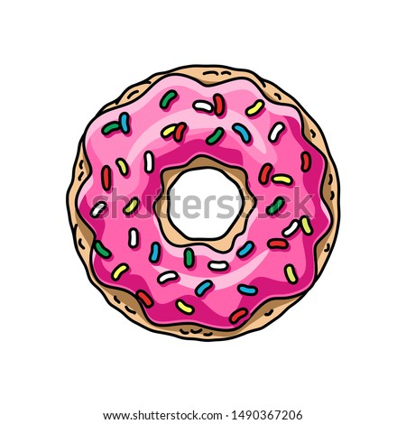 cartoon donut with pink glaze