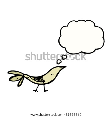 cartoon doodle bird with