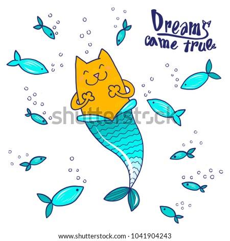 cartoon doodle cat mermaid and
