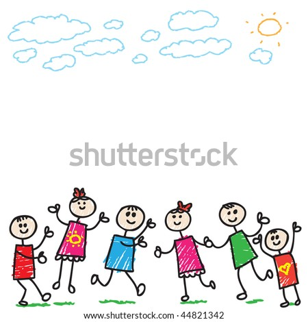cartoon images of children playing. stock vector : cartoon doodle children playing