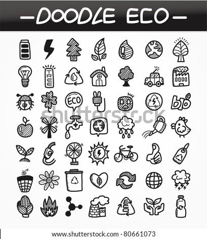 cartoon doodle eco icon set