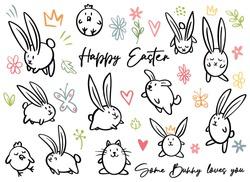Cartoon doodle line happy Easter sign, egg, some bunny loves you, chicken, cat, dog, flowers, crown, leaves. Vector doodling illustration. Black outline bunny ears.