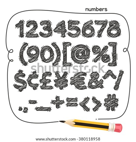 cartoon doodle numbers and