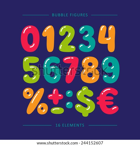 Cartoon doodle numbers. Colorful vector set