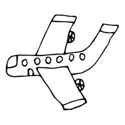 Cartoon doodle plane isolated on white background in childlike style. Vector illustration.