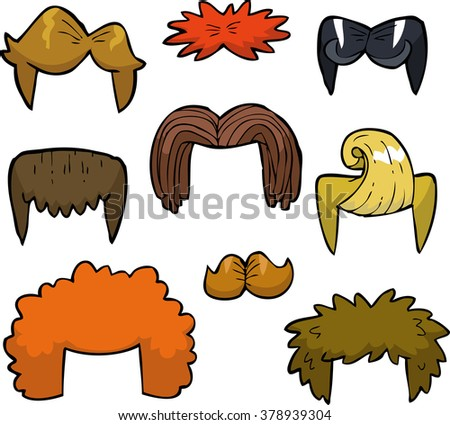 cartoon doodle set wigs on a