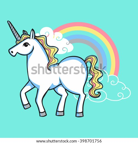 cartoon doodle white unicorn