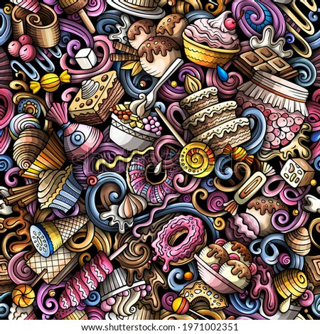 Cartoon doodles Desserts seamless pattern. Backdrop with sweet food symbols and items. Colorful detailed background for print on fabric, textile, phone cases, wrapping paper. Stockfoto ©