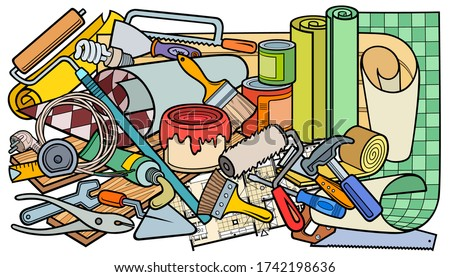 Cartoon doodles funny hand drawn home repair illustration. Many objects vector background.