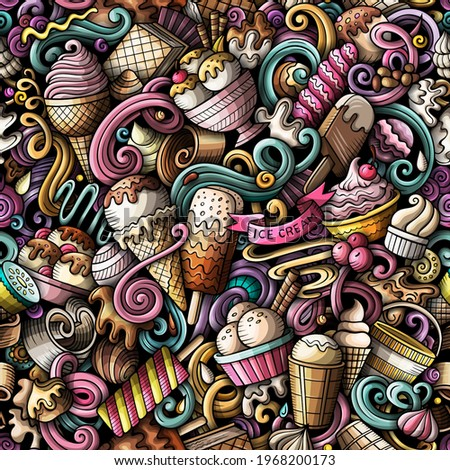 Cartoon doodles Ice-cream seamless pattern. Backdrop with ice cream symbols and items. Colorful detailed background for print on fabric, textile, phone cases, wrapping paper. All objects separate. Stockfoto ©