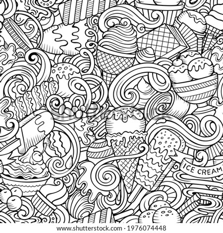 Cartoon doodles Ice-cream seamless pattern. Backdrop with ice cream symbols and items. Sketchy detailed background for print, coloring pages, wrapping paper. Stockfoto ©