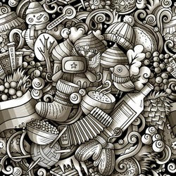 Cartoon doodles Russia seamless pattern. Backdrop with Russian culture symbols and items. Monochrome detailed, with lots of objects background for print on fabric, textile, greeting cards, scarves