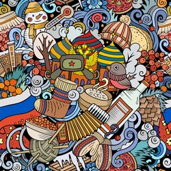 Cartoon doodles Russia seamless pattern. Backdrop with Russian culture symbols and items. Colorful detailed, with lots of objects background for print on fabric, textile, greeting cards