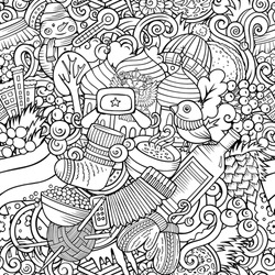 Cartoon doodles Russia seamless pattern. Backdrop with Russian culture symbols and items. Sketchy detailed, with lots of objects background for print on fabric, textile, greeting cards, scarves