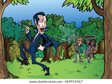 cartoon dracula chased by