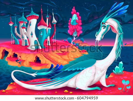 cartoon dragon in a fantasy