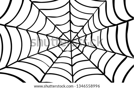 Cartoon drawing cobweb background. Flat vector spider pictogram. Happy halloween party. spooky, Creepy, horror insect. Accident, fear, scary for man and woman, superhero. Webbing line pattern.  Сток-фото ©