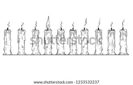 Cartoon drawing conceptual illustration of one lit candle in row of burnt-out candles. Business concept of individuality and teamwork.