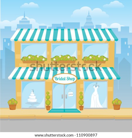 Cartoon drawing of a city bridal shop