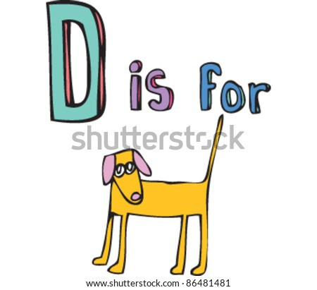Cartoon Drawing of Letter 'D is for dog'