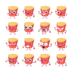 Cartoon drawing set of fast food emoji. Hand drawn emotional meal.Actual Vector illustration american cuisine. Creative ink art work french fries