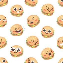 Cartoon drawing set of fast food emoji. Hand drawn emotional meal.Actual Vector illustration american cuisine. Creative ink art work burger