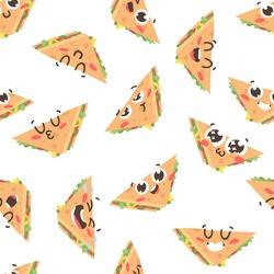 Cartoon drawing set of fast food emoji. Hand drawn emotional meal.Actual Vector illustration american cuisine. Creative ink art work sandwich
