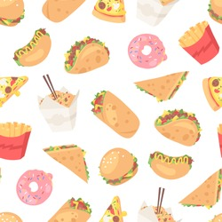 Cartoon drawing set of fast food. Hand drawn meal.Actual Vector illustration american cuisine. Creative ink art work