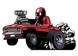 cartoon driving american muscle race car