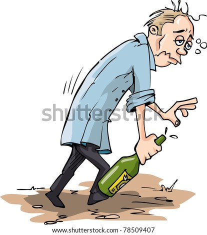 Cartoon Drunk with a bottle. Isolated on white - stock vector