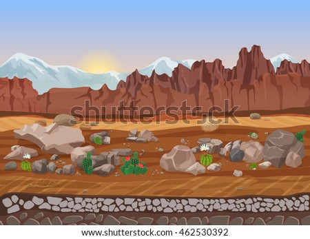 cartoon dry stone desert