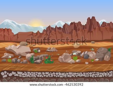 cartoon dry stone desert