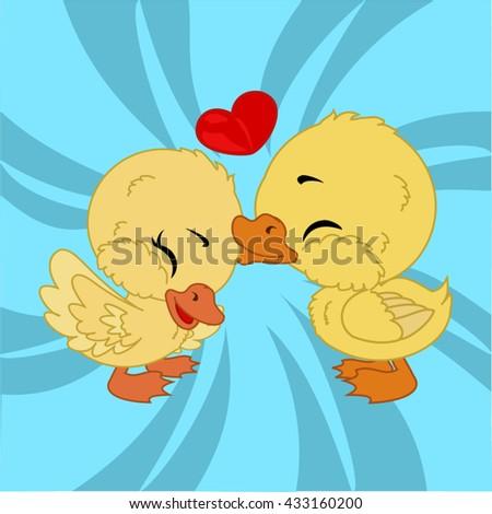 cartoon duck friends with heart