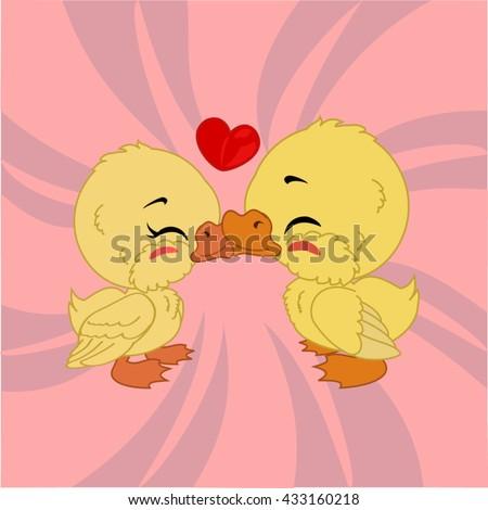 cartoon duck lovers with heart