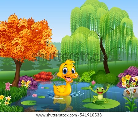 stock-vector-cartoon-duck-with-happy-frog
