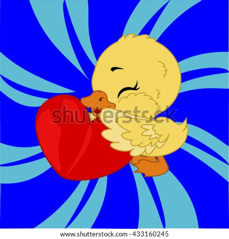 cartoon duck with heart before