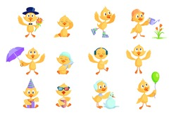 Cartoon duckling set. Cute funny yellow baby chicks or ducks different activities, celebrating birthday, watching movie, dancing, sleeping. For cartoon character, preschool education concept