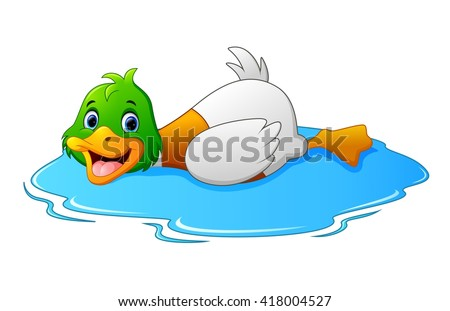 cartoon ducks floats on water
