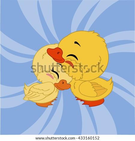 cartoon ducks with blue