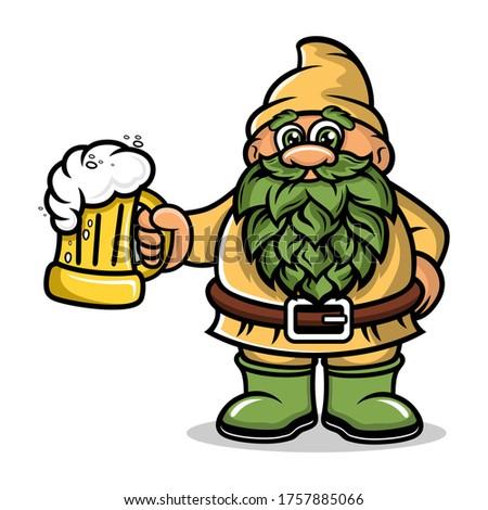 Cartoon Dwarf Mascot with a mug beer logo.Vector illustration. Photo stock ©