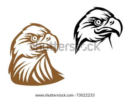 Cartoon eagle symbol isolated on white for tattoo or another design. Jpeg version also available in gallery