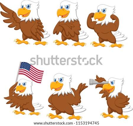 Cartoon eagles collection set #1153194745