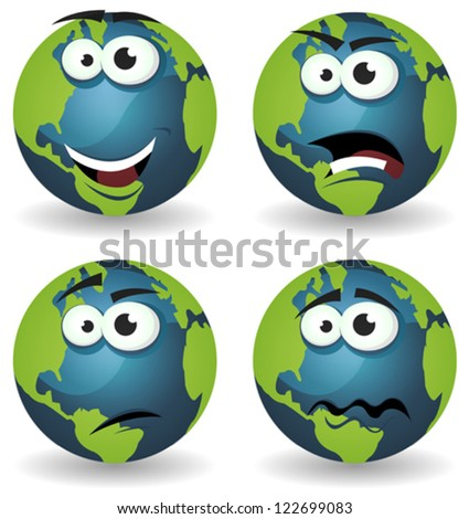 Cartoon Earth Icons Emotions/ Illustration of a set of various cartoon funny earth symbol icons characters with various emotions, happy, angry, doubtful and sadness
