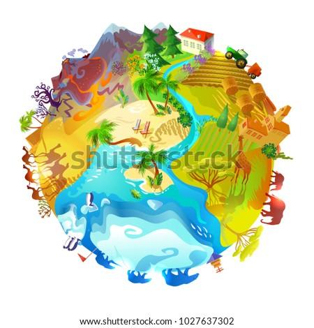 cartoon earth planet nature