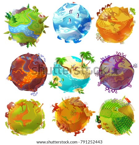 cartoon earth planets set with