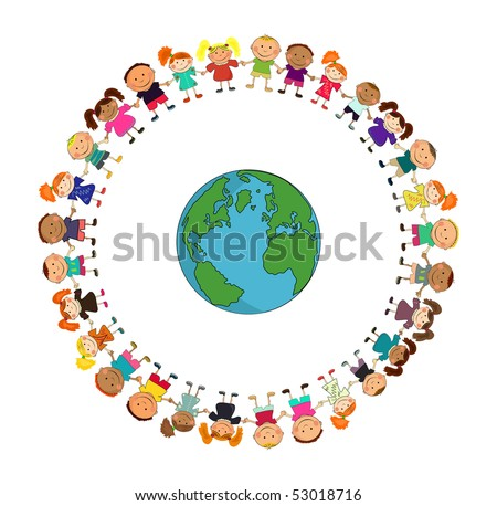 cartoon earth with kids. - stock vector