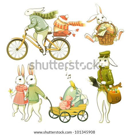 Cartoon Easter bunnies isolated on white background.