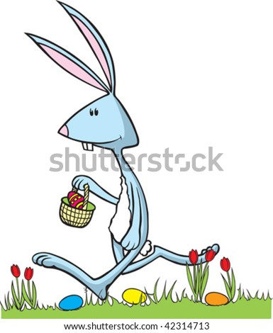Cartoon Easter Bunny. Bunny, grass and eggs are all on separate layers.